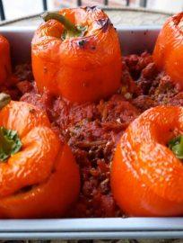 paleo, stuffed peppers, ground beef, cauliflower rice