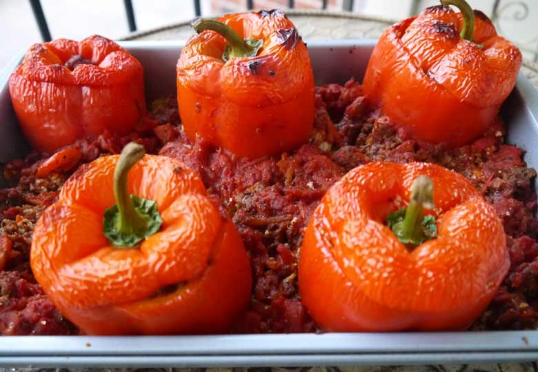stuffed-peppers-cauliflower-rice-paleo-perchancetocook