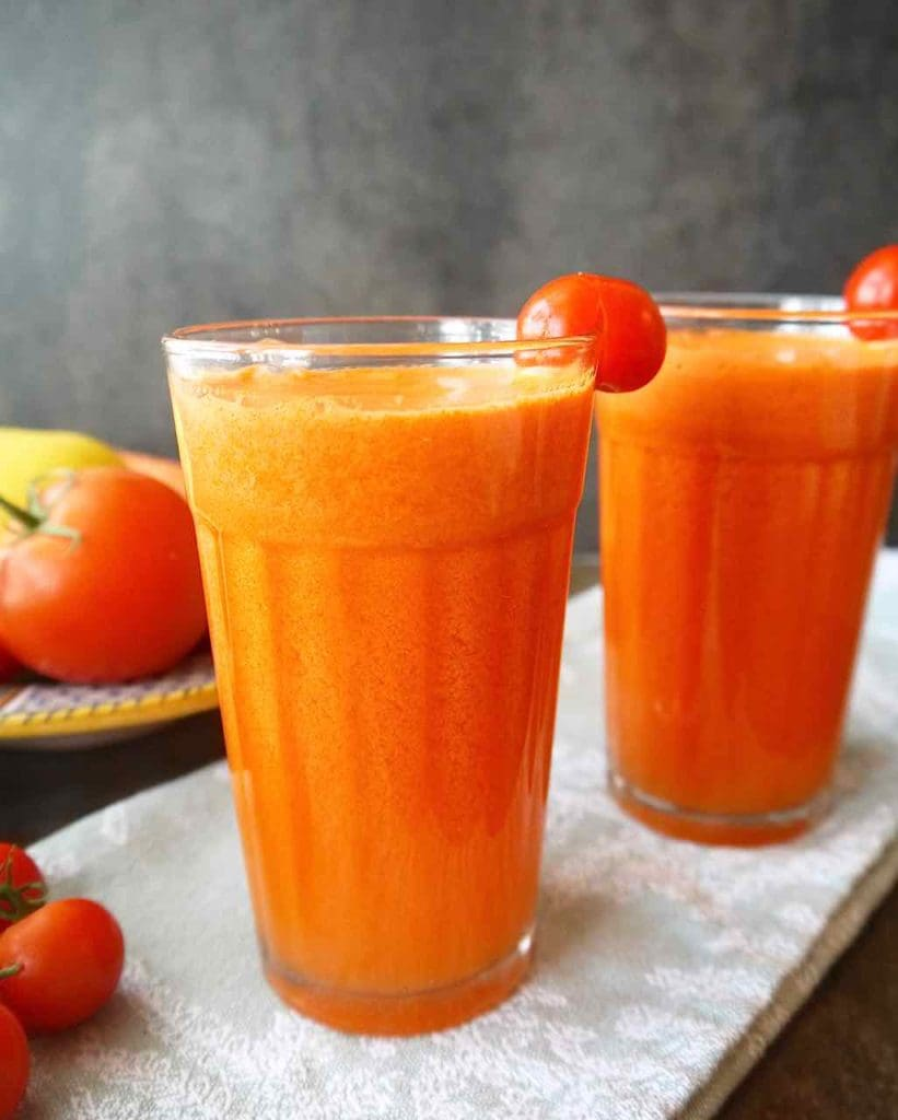 Refreshing Tomato Carrot Juice | Perchance to Cook, www.perchancetocook.com
