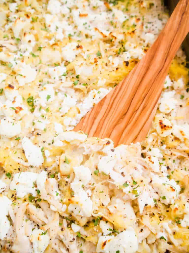 Creamy Spaghetti Squash Chicken Casserole (Paleo, GF)   Perchance to Cook, www.perchancetocook.com