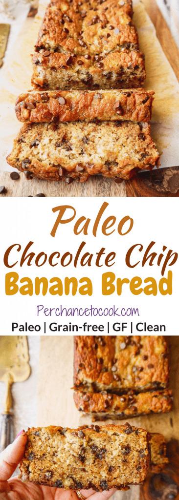 Chocolate Chip Banana Bread (paleo, GF)   Perchance to Cook, www.perchancetocook.com