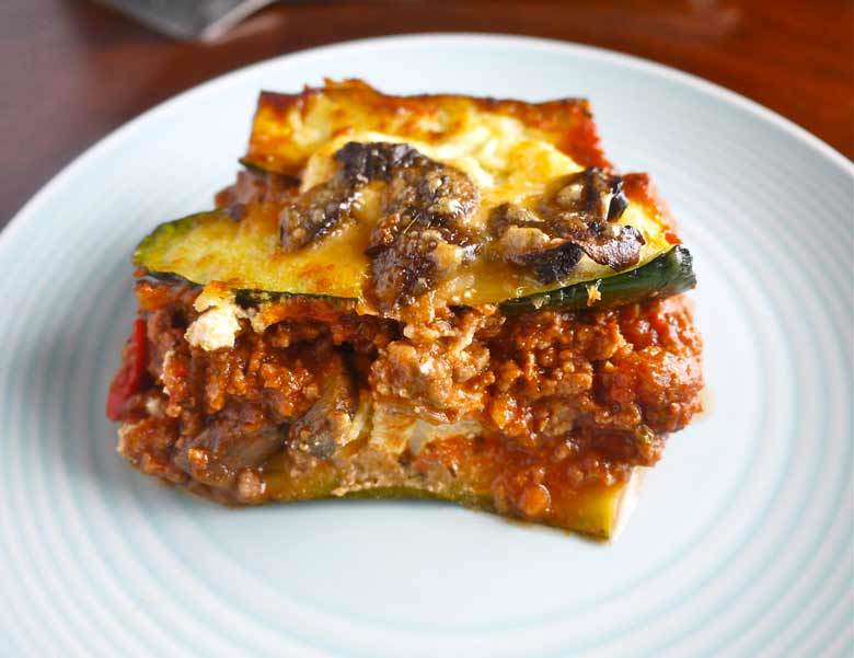 Zucchini Lasagna with Meat Sauce & Mushrooms (paleo-friendly, GF) | Perchance to Cook, www.perchancetocook.com