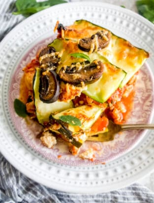 Zucchini Lasagna with Meat Sauce and Mushrooms | Perchance to Cook, www.perchancetocook.com