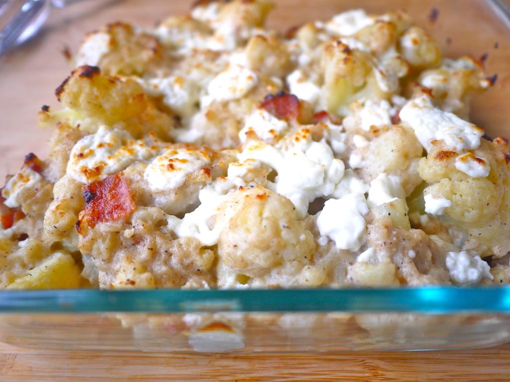 Cauliflower and Bacon Au Gratin (paleo, GF) | Perchance to Cook
