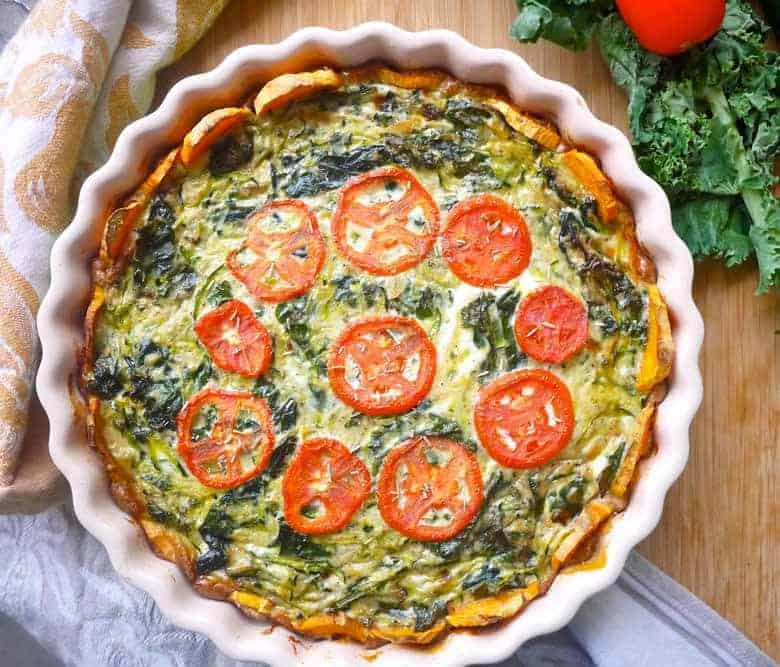 Zucchini and Kale Quiche with a Sweet Potato Crust (Paleo, GF) | Perchance to Cook, www.perchancetocook.com
