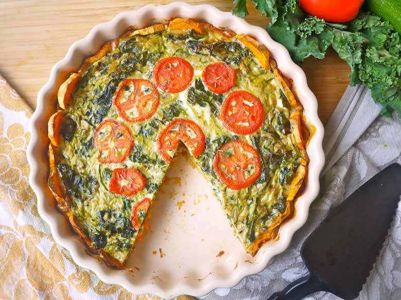 Zucchini and Kale Quiche with a Sweet Potato Crust (Paleo ...