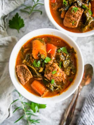 Creamy Beef, Kale and Tomato Stew (Paleo, Gluten-Free) | Perchance to Cook, www.perchancetocook.com