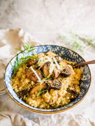 Creamy Mushroom Quinoa Risotto (Gluten-Free, dairy-free option) | Perchance to Cook, www.perchancetocook.com