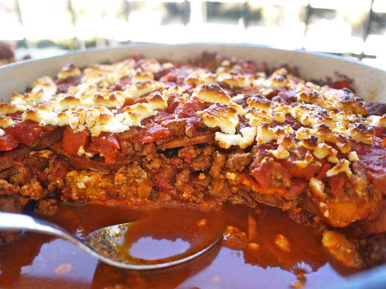 Sweet Potato And Ground Turkey Enchilada Casserole Paleo Gf Perchance To Cook