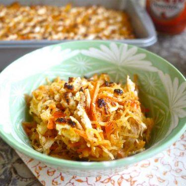 Creamy Buffalo Chicken Spaghetti Squash Casserole (paleo, GF) | Perchance to Cook, www.perchancetocook.com