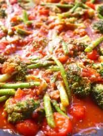 Broccoli Asparagus Primavera (paleo, GF)   Perchance to Cook, www.perchancetocook.com