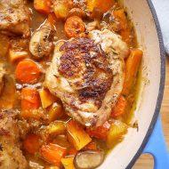 Dutch-Oven-Peach-Maple-Chicken-Thighs-paleo-perchancetocook