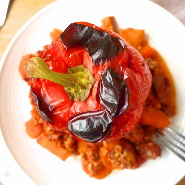 Clean Ground Turkey Roasted Stuffed Peppers | what you should be having for dinner tonight! #paleo #gf #clean http://www.perchancetocook.com/2015/08/20/clean-ground-turkey-roasted-stuffed-peppers-paleo-gf/