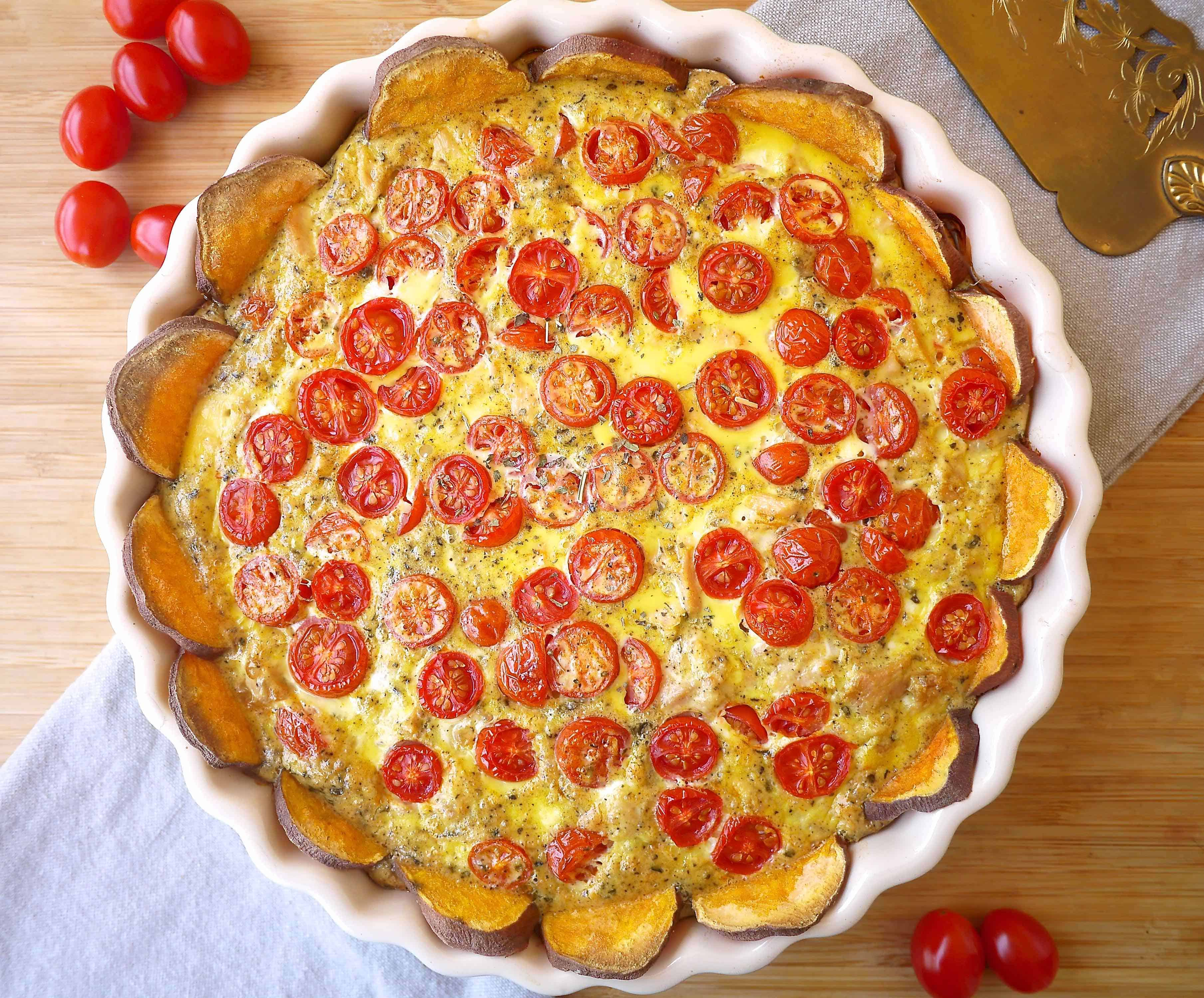 French Tomato, Tuna, & Mustard Quiche-- a refined Paleo quiche made with a sweet potato crust. | Perchance to Cook