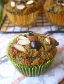 Grain-free Blueberry-Banana Kale Muffins-- a delicious way to get more superfoods in your diet! | Perchance to Cook