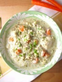 Creamy Broccoli, Cauliflower, and Chicken Soup (paleo, GF)| Perchance to Cook, www.perchancetocook.com