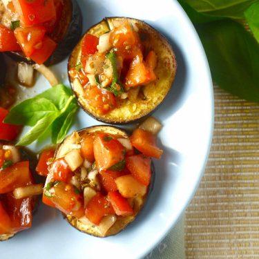 Eggplant Bruschetta (paleo, GF) | Perchance to Cook, www.perchancetocook.com