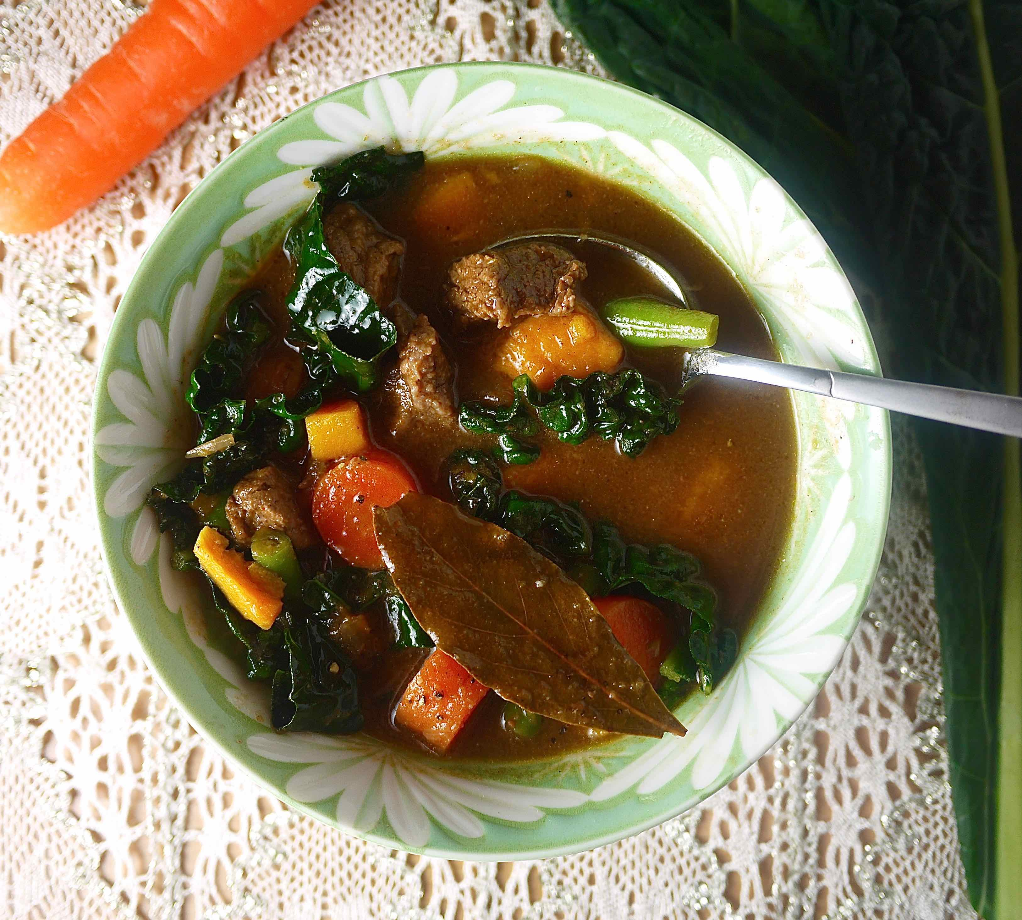 In this Paleo Beef and Winter Vegetable Soup recipe, I was inspired by ...