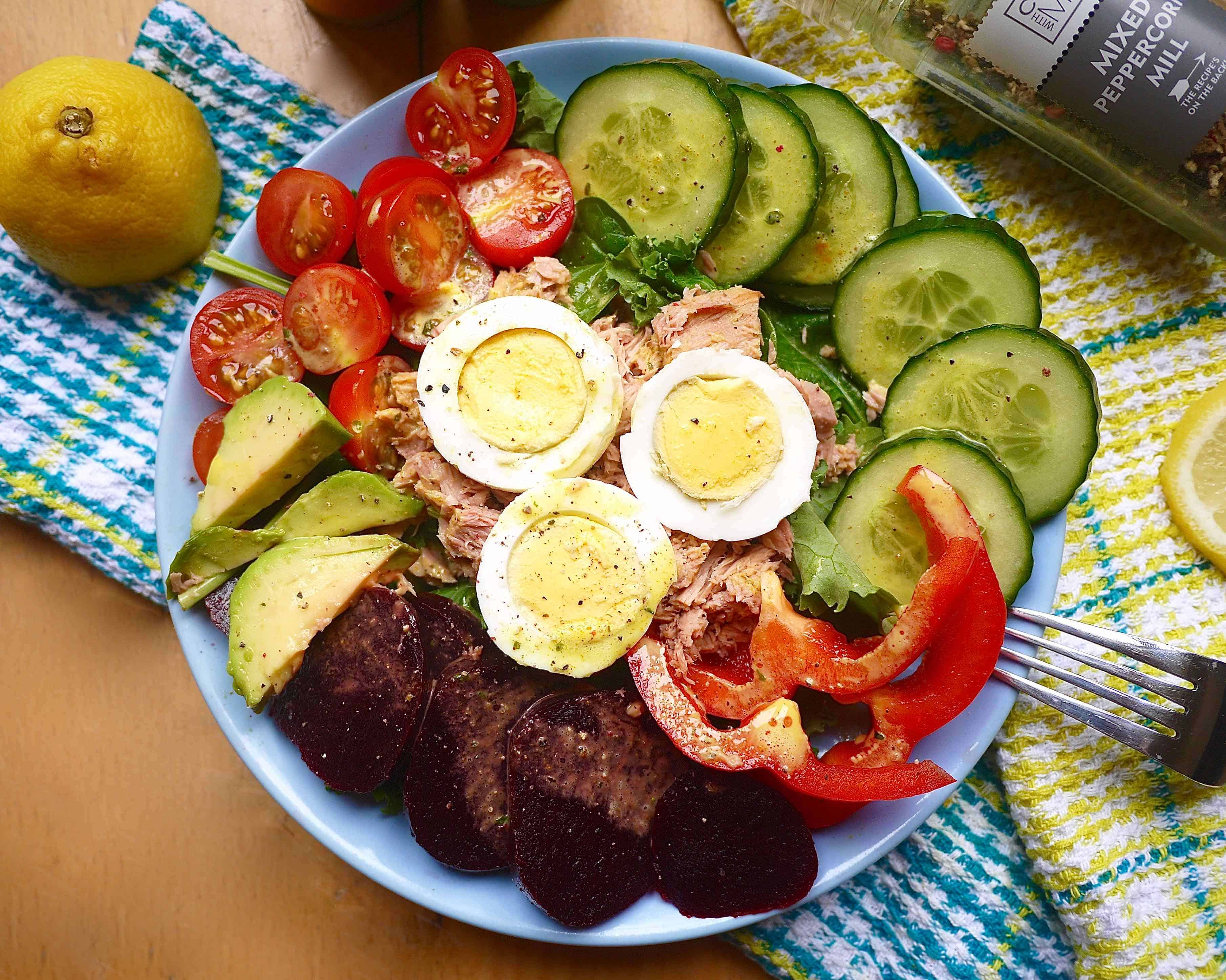 Beet, Cherry Tomato, Tuna, and Egg Salad with Creamy Dressing (paleo, GF) | Perchance to Cook, www.perchancetocook.com