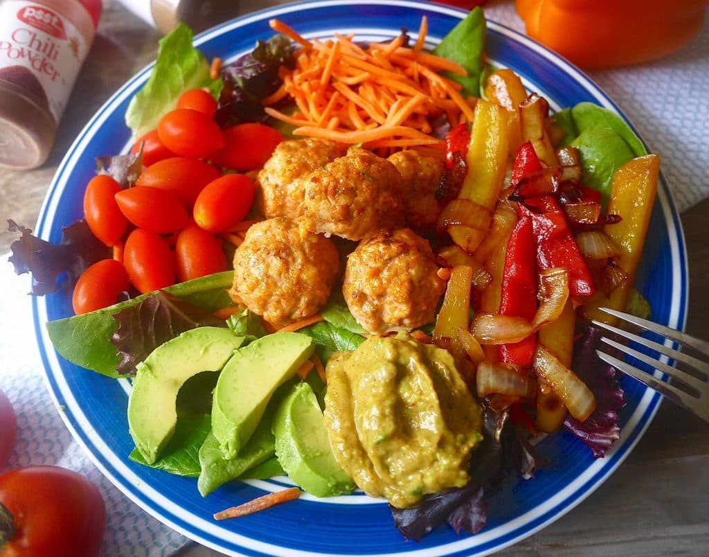 Paleo Fajita Salad with Chicken Taco Meatballs (GF) |Perchance to Cook, www.perchancetocook.com
