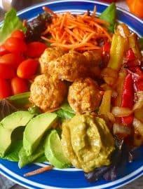 Paleo Fajita Salad with Chicken Taco Meatballs (GF)  Perchance to Cook, www.perchancetocook.com