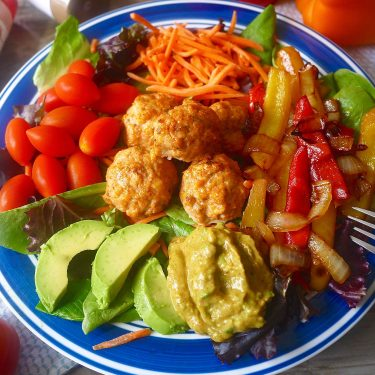Paleo Fajita Salad with Chicken Taco Meatballs (GF) |Perchance to Cook, www.perchancetocook.com