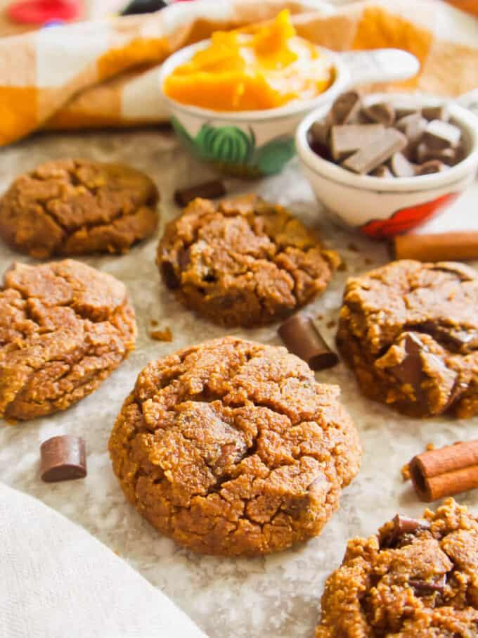 Paleo Pumpkin Pie Chocolate Chip Cookies (Gluten-free) | Perchance to Cook, www.perchancetocook.com