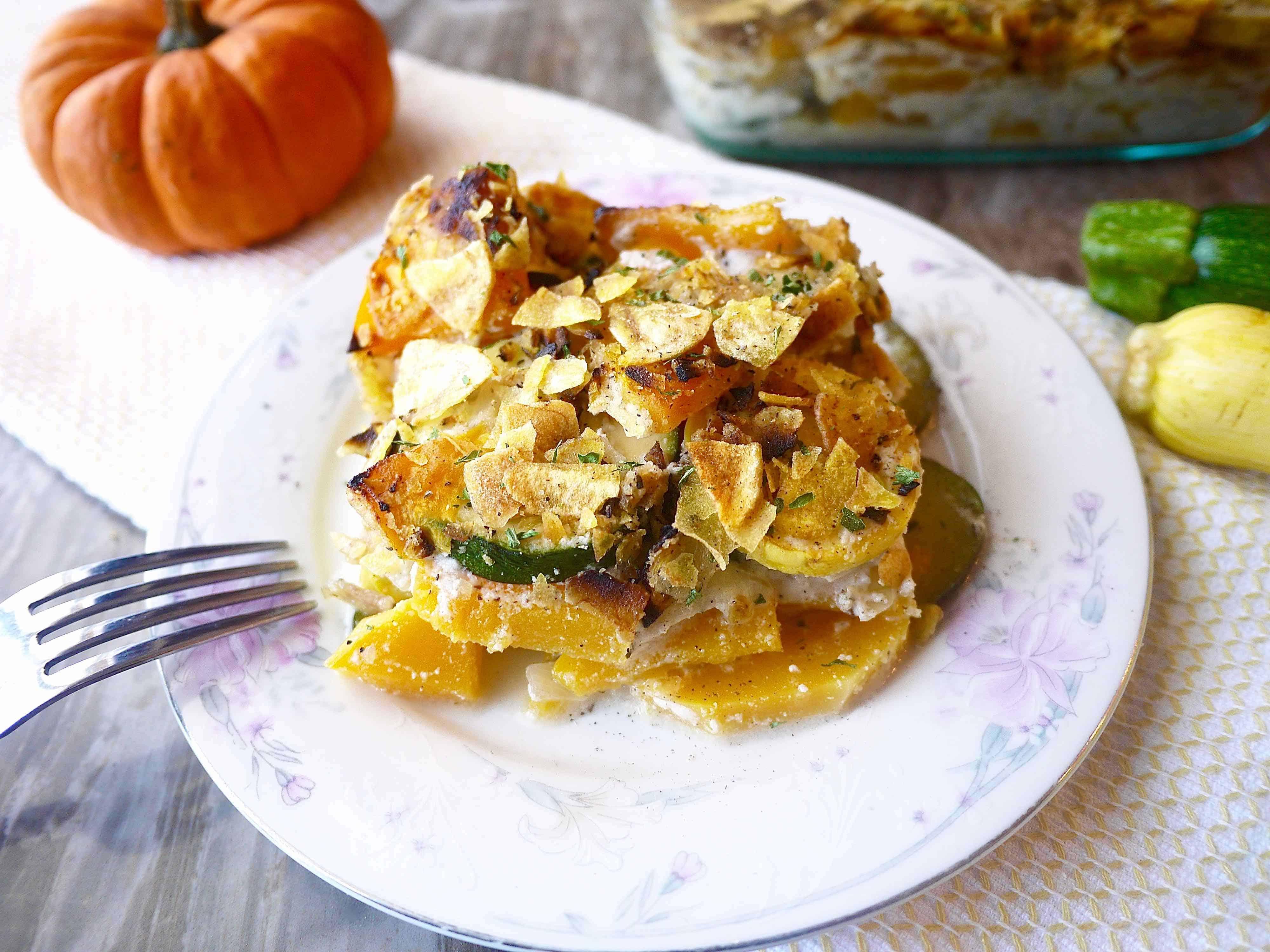 Squash Au Gratin (Paleo, GF), a healthy Fall side dish |Perchance to Cook, www.perchancetocook.com