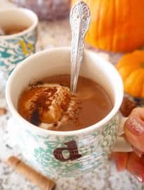 This Paleo Pumpkin Hot Chocolate will keep your body warm and your dessert cravings at bay this Fall |Perchance to Cook, www.perchancetocook.com