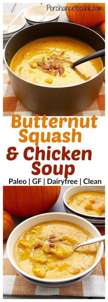 Hello Fall soup deliciousness! Butternut Squash & Chicken Soup (paleo, GF) | Perchance To Cook, www.perchancetocook.com