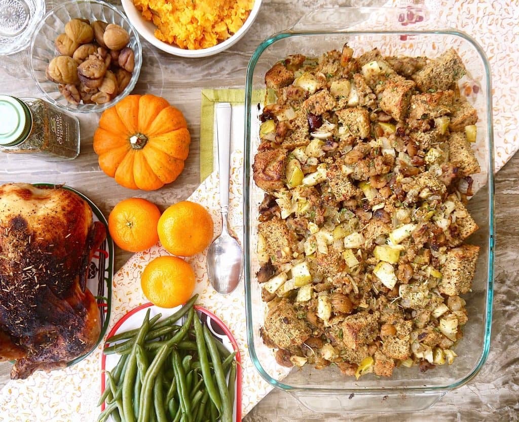this paleo sausage apple and chestnut stuffing is the fourth and final ...