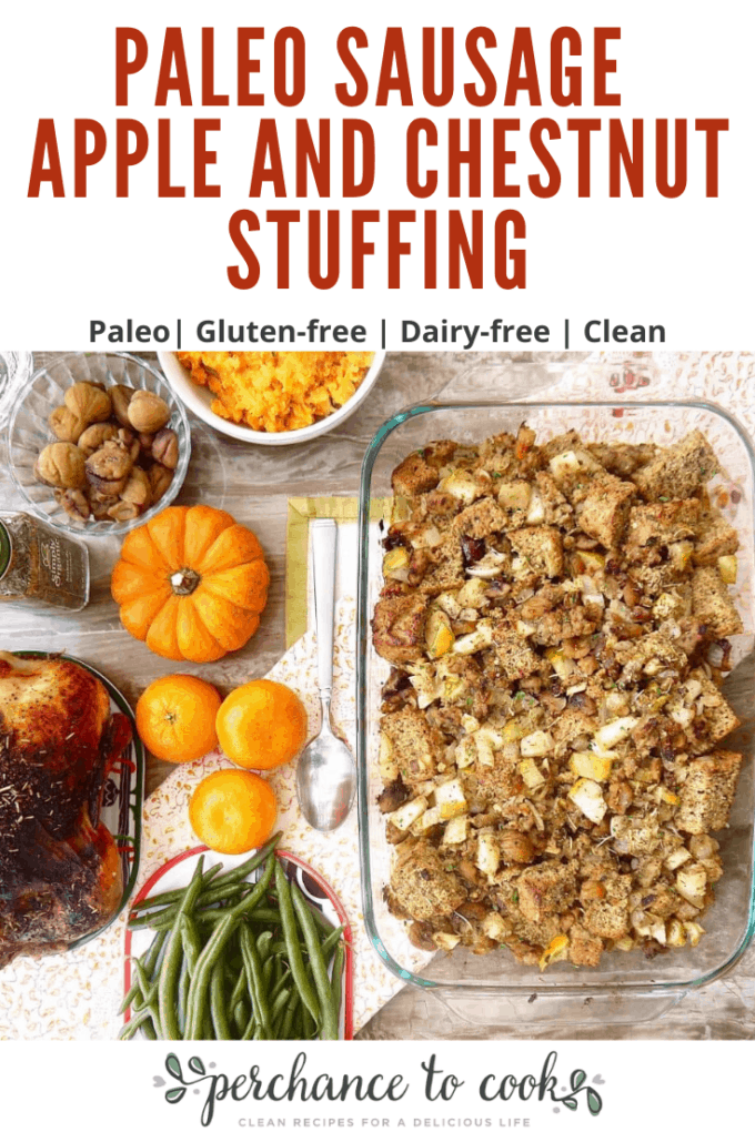 A delicious grain-free stuffing made with a homemade herbes de Provence and flaxseed bread. It is full of sausage, apples, chestnuts, and warm spices. It is naturally gluten-free, grain-free, dairy-free, and Paleo.