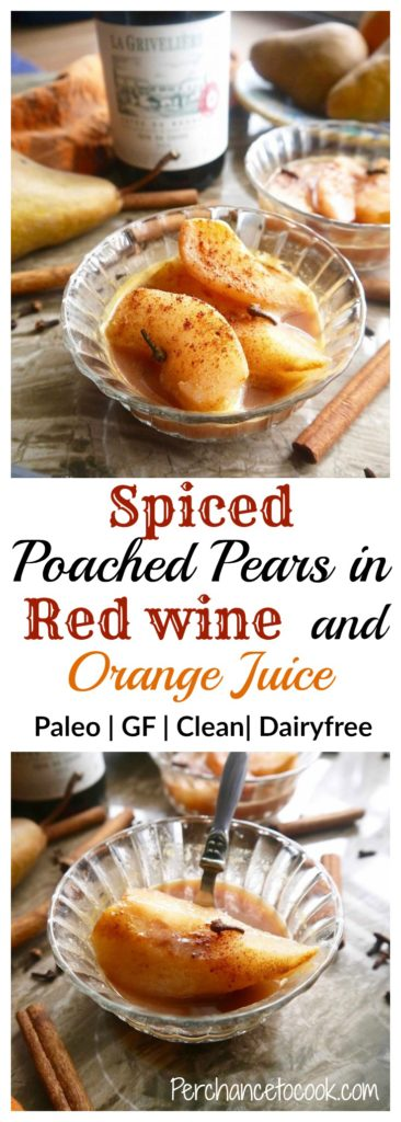 Spiced Poached Pears in Red wine and Orange Juice (paleo ...