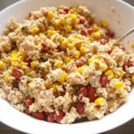 Pink Protein Quinoa, Tuna, and Beet Salad (GF) | Perchance to Cook, www.perchancetocook.com