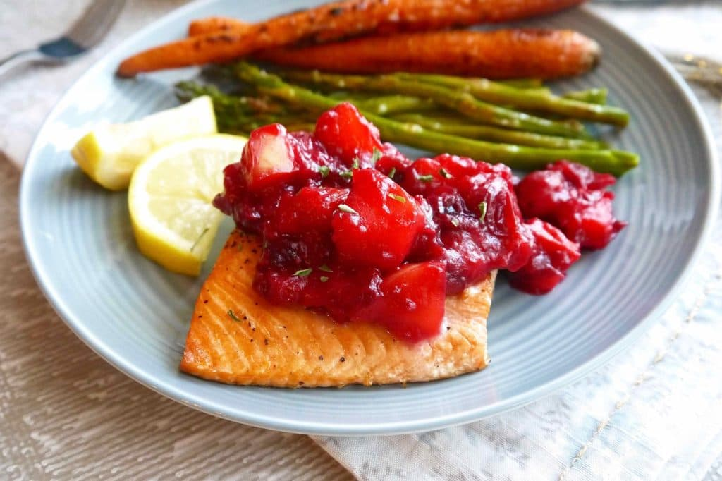 Broiled Salmon With Apple Cranberry Compote Paleo Gf