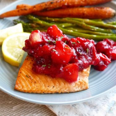 Broiled Salmon with Apple Cranberry Compote (Paleo, GF) | Perchance to Cook
