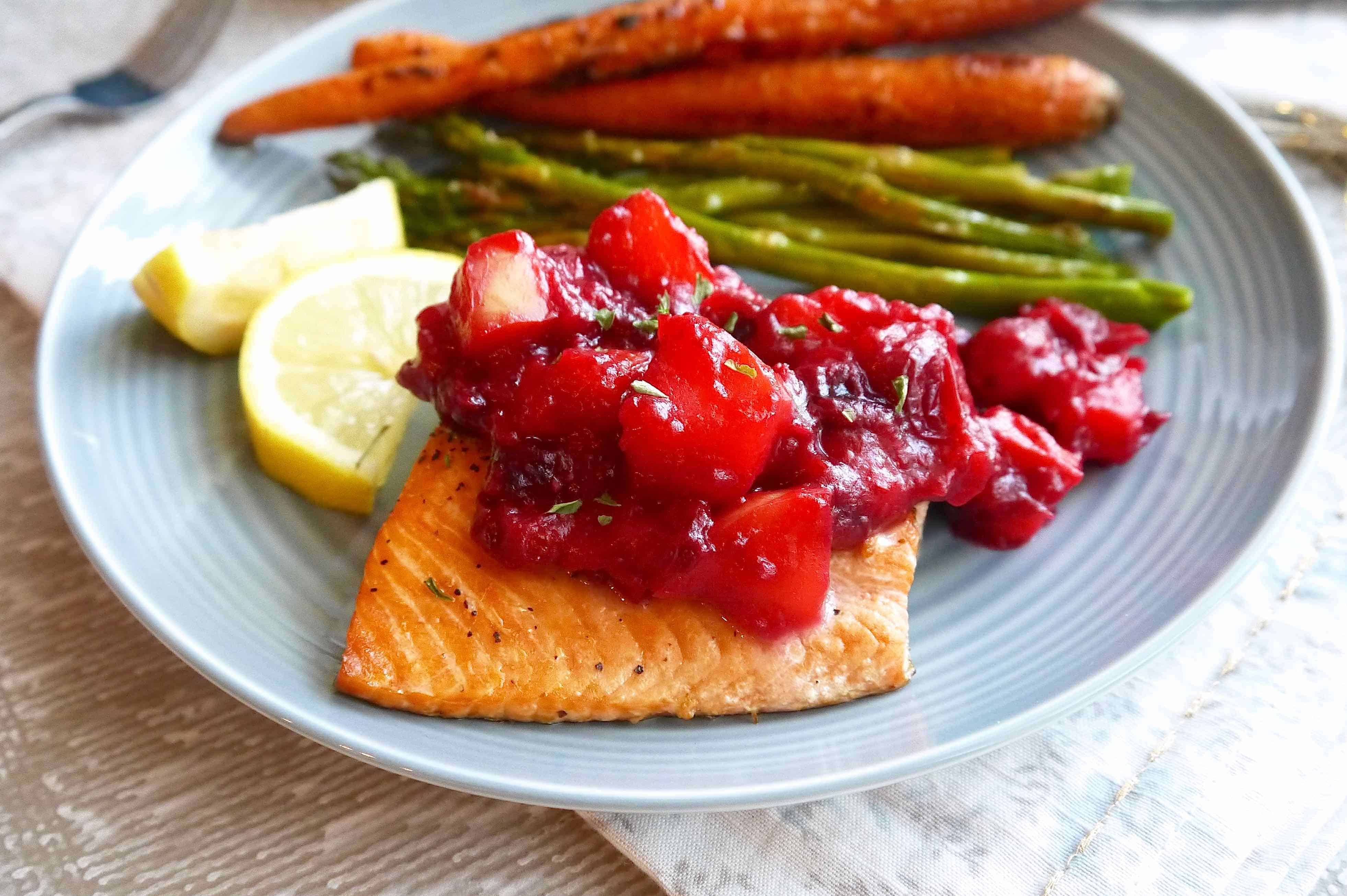 Salmon with apple cranberry compote paleo gf perchance to cook broiled salmon with apple cranberry compote paleo gf ccuart Choice Image