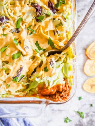 Dairy-free 7 Layer Ground Turkey Taco Dip (Gluten-free, Paleo option provided) | Perchance to Cook, www.perchancetocook.com