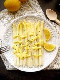 White Asparagus with a Provençal Lemon Mustard Mayo (Paleo, GF) | Perchancetocook, www.perchancetocook.com