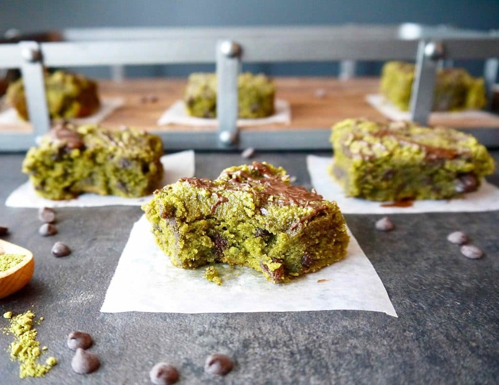Paleo Matcha Blondies with Chocolate Chips and Raisins | Perchance to Cook, www.perchancetocook.com