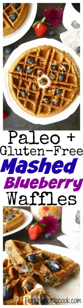 Paleo + Gluten-free Mashed Blueberry Waffles   Perchance to Cook, www.perchancetocook.com
