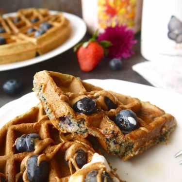 Paleo + Gluten-free Mashed Blueberry Waffles | Perchance to Cook, www.perchancetocook.com