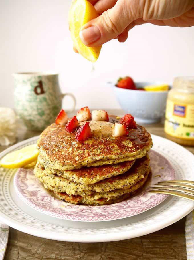 Paleo Lemon Poppy Seed Banana Pancakes (GF) | Perchance to Cook, www.perchancetocook.com