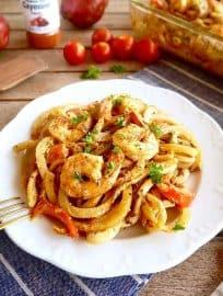 Cajun Shrimp and Spiralized Potato Casserole { Paleo, Whole30} | Perchance to Cook, www.perchancetocook.com