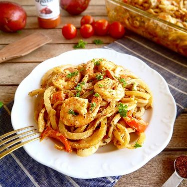 Cajun Shrimp and Spiralized Potato Casserole { Paleo, Whole30} | Perchance to Cook, www.perchancetocook.com