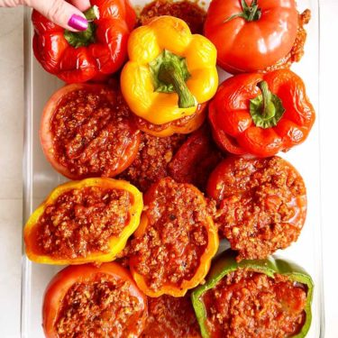 Healthy Family Style Stuffed Peppers and Tomatoes {Paleo, Whole30} | Perchance to Cook, www.perchancetocook.com