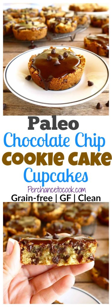 Paleo Chocolate Chip Cookie Cake Cupcakes | Perchance to Cook, www.perchancetocook.com