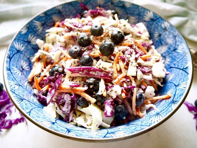 Blueberry Chia Seed Coleslaw (Paleo, GF)   Perchance to Cook, www.perchancetocook.com
