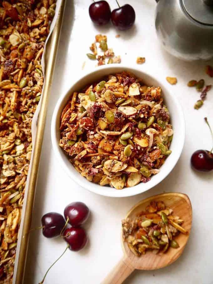 Fresh Cherry Grain-free Granola {Paleo, GF} | Perchance to Cook, www.perchancetocook.com