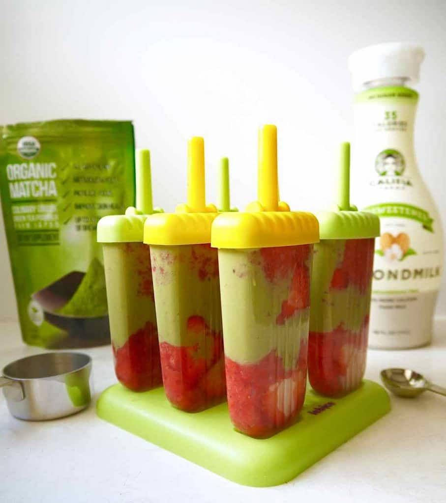 Strawberry and Matcha Green Tea Popsicles {Paleo, Dairy-free}| Perchance to Cook, www.perchancetocook.com